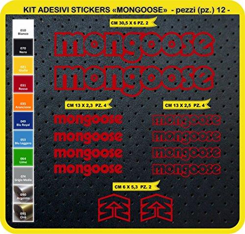Pimastickerslab Aufkleber Fahrrad MONGOOSE Kit Aufkleber Stickers 12 Stück – bici Bike Cycle wählbar Cod.0814 (031 ROSSO)