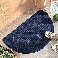 吸収性非スリップ半円のドーマットは泥の床のマット、パティオのリビングルームのフロントのためのレトロなタフなドアマットを吸収します (Color : Blue, Size : 48x78cm)