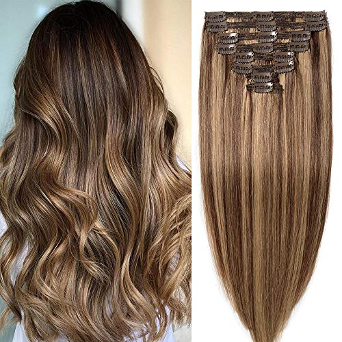 35cm Extension Capelli Veri Clip Meches Doppia Tessitura Double Volume Lunga 14' Pesa 120g #4/#27 Marrone Cioccolato con Biondo Scuro 8 Fasce Full Head 100% Remy Human Hair Estensioni Umani