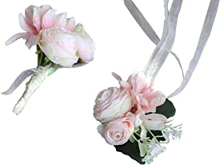 Flonding Wrist Corsage and Brooch Boutonniere Set for Wedding Event Party Prom Wristband Hand Flower Suit Decor (Pink)