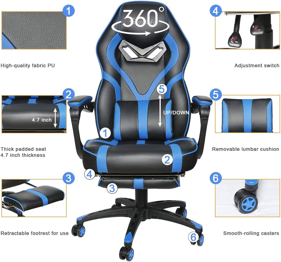 Massage Gaming Chair,Video Game Chair Yellow with footrest,High Back PU Leather PC Racing Computer Desk Office Swivel Recliner with Retractable Footrest and Adjustable Lumbar Cushion Support
