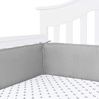 TILLYOU Cotton Collection Baby Safe Crib Bumper Pads for Standard Cribs Machine Washable Padded Crib Liner Thick Padding for Nursery Bed Safe Crib Guards Protector de Cuna, 4 Piece, Charcoal Gray