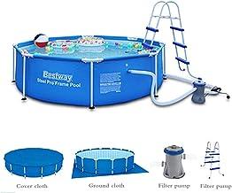 GXLO Marco Redondo Piscina Piscina Plegable Lona con el Filtro de la Bomba Grande de la natación 3-Capa de PVC Protección del Medio Ambiente Seguridad Freeze Sol y Crack,C,305x76cm
