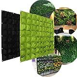 fioriera da giardino verticale, in feltro anti-ultravioletto, anti-corrosione, protezione solare, calore appesi alle pareti 72 tasche (verde)