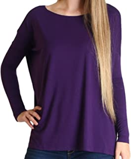 David Collection Long Sleeve Womens Missy Plus Size Soft Tops Loose Fit Basic T Shirt