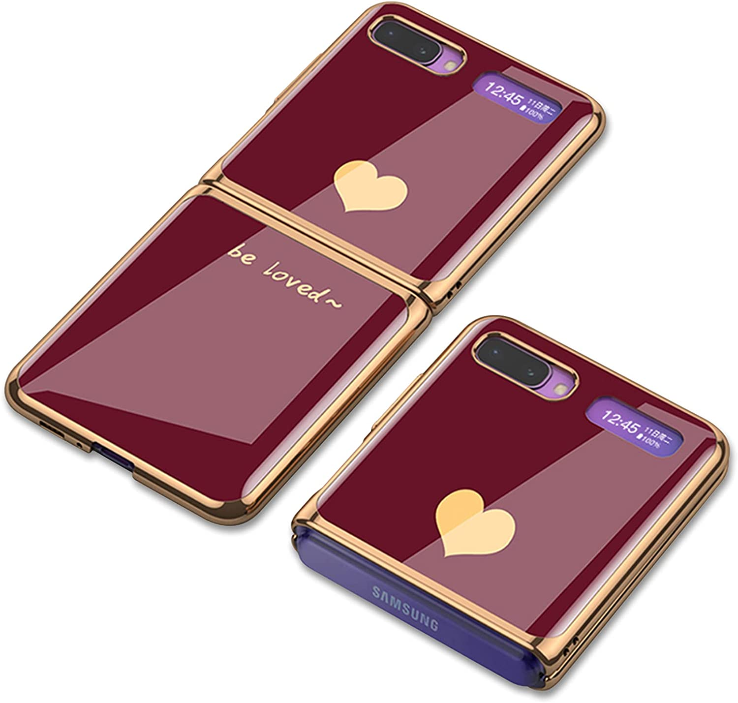 Jusy Samsung Galaxy Z Flip Case with Heart Pattern Design for Women, Slim Fit, Luxury and Elegant Ultra-Thin Protective Case for Galaxy Z Flip 5G (Burgundy+Gold)