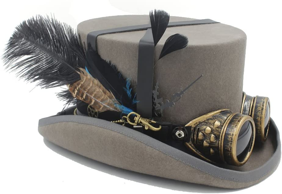 Fashion Hats, Caps The Wool DIY Fedora Steampunk Top Hat and for Women Men Hat Millinery Steampunk Goggles (Color : 5, Size : 59CM)