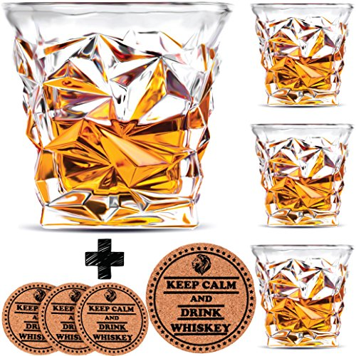 Diamond Whiskey Glasses - Set of 4 - by Vaci + 4 Drink Coasters