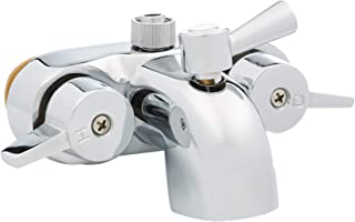 My PlumbingStuff B3100 3 ⅜-Inch Centers Clawfoot Tub Faucet with Ceramic Cartridges & ¼-Turn Ball-Valve Diverter - Diverter Bathcock - Faucet Replacement - Solid-Brass Chrome-Plated - ¾ Male IPS Inlet