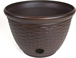 Liberty Garden Products Liberty 1920 High Density Resin Wicker Design Garden Hose Pot, Bronze