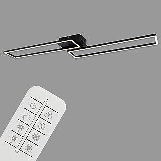 Briloner Leuchten - Lámpara de techo LED, regulable, incluye control remoto, control de color de temperatura, función de luz nocturna y temporizador, negro, 1100 x 248 x 78 mm (Largo x ancho x alto)