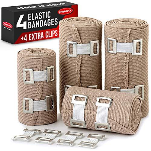 Premium Elastic Bandage Wrap - 4 Pack + 4 Extra Clips - Durable Compression Bandage (2X - 3...