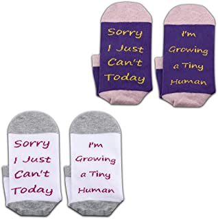 JXGZSO Pregnancy Gift New Mom Gifts Sorry I Just Can`t Today I`m Growing a Tiny Human Mom Sock Pregnant Mom Gift