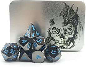 Truewon Metal Dice Set of 7 with Silver Dragon Box (Black Nickel Surface Blue Numbers)
