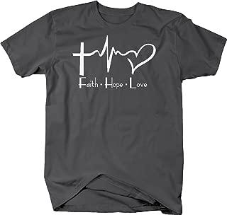 Faith Hope Love Cross Heart EKG Jesus Religious Graphic T Shirt for Men