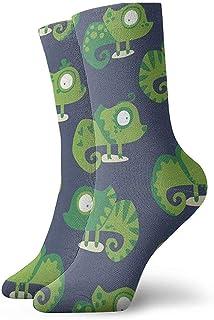 Dydan Tne, Niños Niñas Locos Divertidos Verdes Calcetines de camaleón Calcetines Lindos de Vestir de Novedad