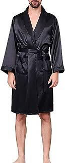 New Men Black Lounge Sleepwear Faux Silk Nightwear Comfort Silky Bathrobes Noble Dressing Gown Sleep Robes