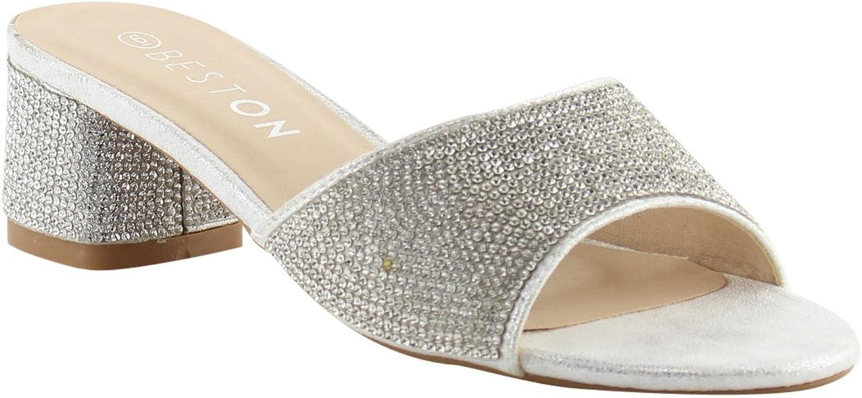 BESTON FQ87 Women's Crystal Rhinestone Wrapped Block Heel Slide Sandals