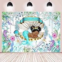新しいリトルプリンセスマーメイドテーマベビーシャワーパーティーの装飾背景写真背景ケーキテーブル用品ビニール背景7x5ft