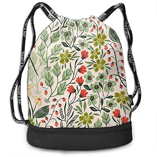 1Zlr2a0IG Printing Drawstring Bag,Colorful Plants and Flowers Pattern