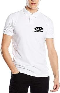 HANRUI Designed T Shirt KIA_Motors Logo Black New Polo Shirt for Men 100% Organic Cotton V-Neck White
