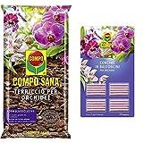 CompoCOMPO SANA Terriccio per Orchidee, Per una fioritura ottimale, 5 l & Concime in Bastoncini per Orchidee, 20 Bastoncini, 18 g