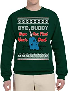 Narwhal Hope You Find Your Dad Quote   Unisex Ugly Christmas Sweater Crewneck Graphic Sweatshirt