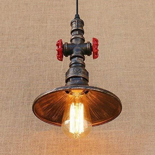 CNCDRS Lámpara de techo industrial luces pendiente de la vendimia de una sola cabeza creativa de hierro forjado de metal de Steampunk del tubo de agua de techo de la lámpara del accesorio ligero moder
