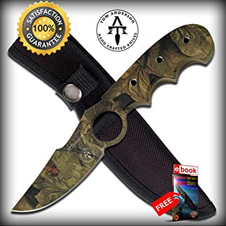 Tom Anderson Camo Full Tang Hunting Skinning SHARP KNIFE with Sheath Combat Tactical Knife + eBOOK by Moon Knives