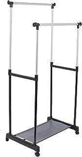 Internet's Best Portable Double Rail Clothes Garment Rack - Steel Rolling Closet Wardrobe Organizer - Adjustable Height and Expandable Hanging Rod - Bottom Shoe Shelf - On Wheels - Chrome & Black