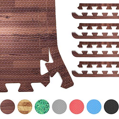 GORILLA SPORTS® 8 Schutzmatten-Endstücke Schaumstoff – Bodenmatten-Randstücke mit 60 cm-Länge + 1,2 cm-Dicke in dunkler Holzoptik