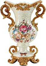 ZR-DECOR European-Style Retro Resin Large Flower Vases for Living Dining Room Table Centerpiece Bedroom Kitchen Office Hotel Home Decoration Hand-Painted Tall Decorative Vase White 22 × 30.5× 15.5cm