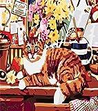 Pintura por Número De Kit, DIY Pintura Al Óleo Dibujo ,Decoración De Navidad Decoraciones Regalos-Serie Cat Jkg10 Sin Marco- 16 * 20 Pulgadas