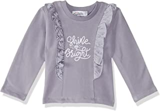 Giggles Shine Bright Letter Print Long Sleeves Crew Neck Ruffled Top for Girls