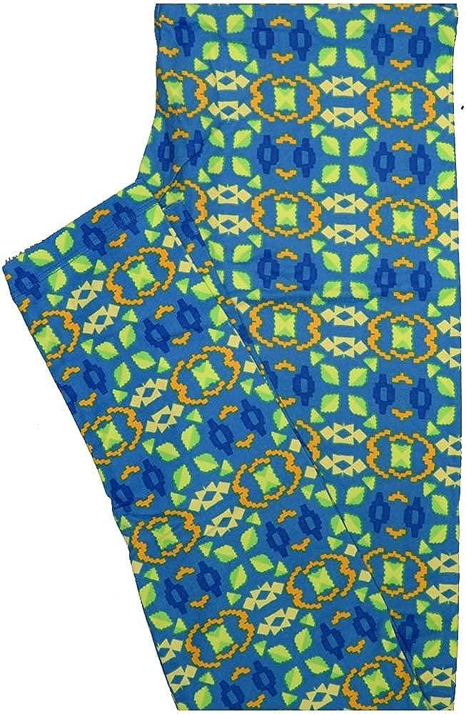 Lularoe One Size OS Stripe Geometric Blue Green Yellow Leggings (OS fits Adults 2-10)
