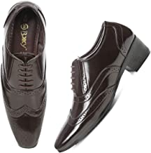 Global Rich Black Height Increasing British Full Brogue Shoes for Men Leather Formal