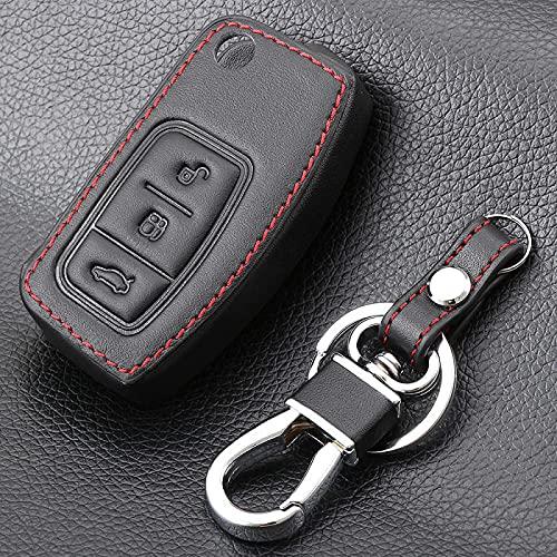 rongshengxinye Funda de piel para llavero de coche con 3 botones para Ford Fiesta Focus Mondeo Falcon B-Max C-Max Eco Sport Galaxy Protector (Nombre del color: Negro)