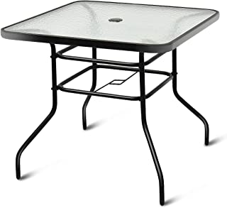 Tangkula Patio Table Outdoor Garden Balcony Poolside Lawn Glass Top Steel Frame All Weather Dining Bistro Table (Square Black 32