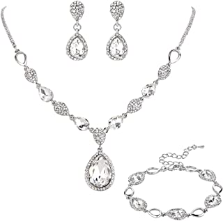 Clearine Women's Wedding Bridal Crystal Teardrop Y-Necklace Tennis Bracelet Dangle Earrings Set