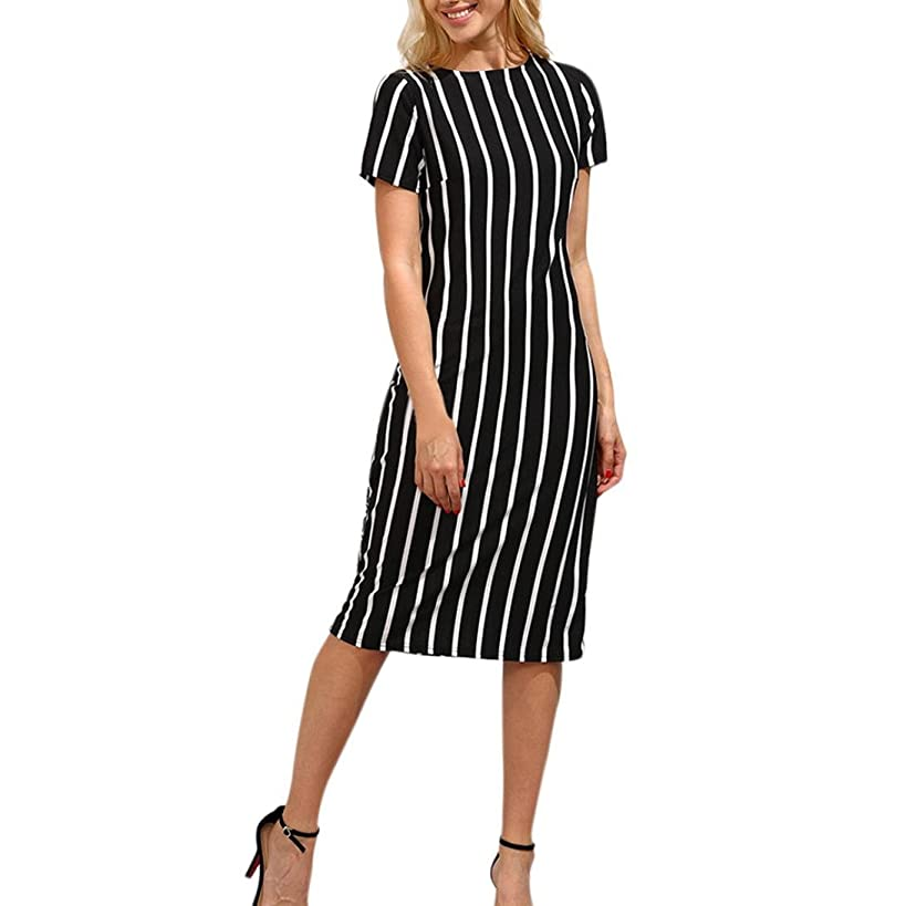 Elogoog Fashion Women's Short Sleeve Striped Work Office Business Round Neck Sheath Midi Pencil Dress