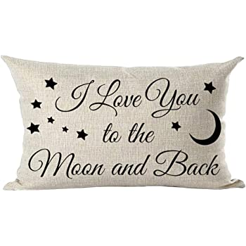 ramirar Black Word Quote I Love You to The Moon and Back Stars Inspirational Decorative Lumbar Throw Pillow Cover Case Cushion Home Living Room Bed Sofa Car Cotton Linen Rectangular 12 x 20 Inches