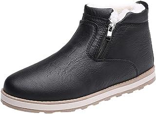 Men Winter Boots Leather, Male Solid Side Zipper Waterproof Casual Snow Boots Plus Velvet Warm Shoes