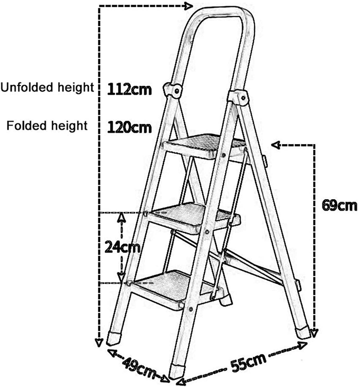 PLLP Household Step Stool, Photography Folding Step Stool, Step Stools Folding Step Stool for 330Lbs Load, Home Office 3 Step Ladder for Adult Seniors, Lightweight White Ladder with Hand Grip & Wide