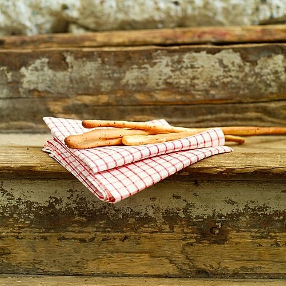 パントリー間違いなく反発Set of 2 White Red Gingham Linen Kitchen Towels