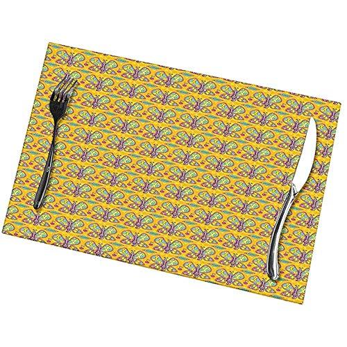 Hui-Shop Napperons, Sets de Table de Cuisine (Lot de 6), Feuilles d'ailes colorées et Cerises sur Un Fond de Cercles de Couleur Chaude Points