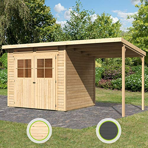 Hori® Gartenhaus I Gerätehaus Skive aus Holz I nordische Fichte Natur I 436 x 217 cm - 19 mm Bohlenstärke
