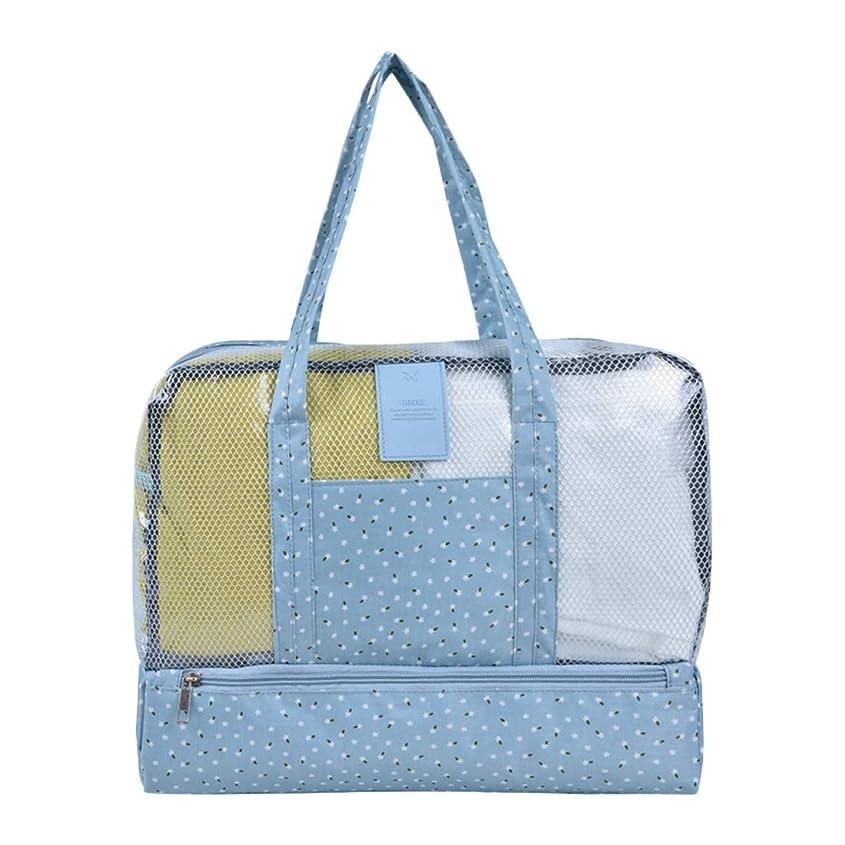 製造ドリル買い物に行くJiabei 屋外トラベルビーチスイミングバッグフローラルドライとウェットの分離バッグの男性と女性の防水ミイラ保存袋 (色 : Blue small floral)