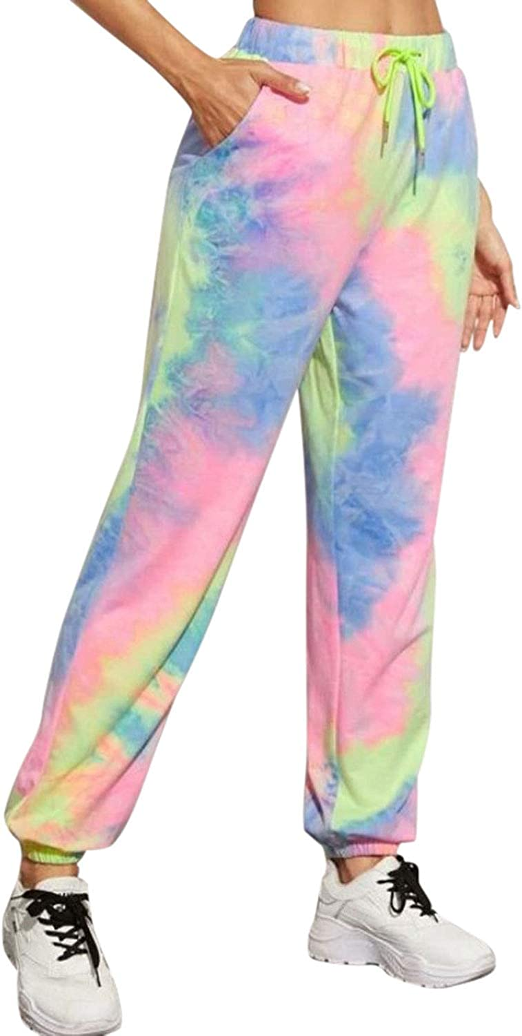 Womens Tie Dye Printed Casual Plus Size Sweatpants Loose High Waist Active Ankle Banded Lounge Jogger Pants Pockets