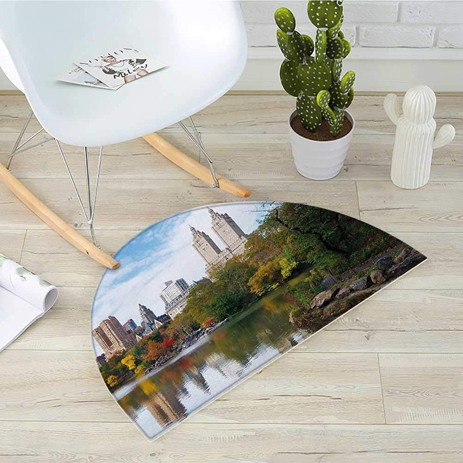 City Semicircular CushionManhattan Central Park Panorama in Autumn Scenic Lake View colorful Trees Reflection Entry Door Mat H 19.7  xD 31.5  Multicolor