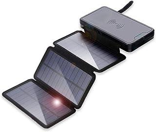 【2020最新版&LEDライト付き】(PSE認証済) 20000mAh ソーラー 充電モバイルバッテリー 大容量 ワイヤレス で充/蓄電 LCD残量表示 です/3台同時に充電/可能 太陽光で充電折りたたみ式ポータブル防水/耐衝撃/災害/停電/旅...